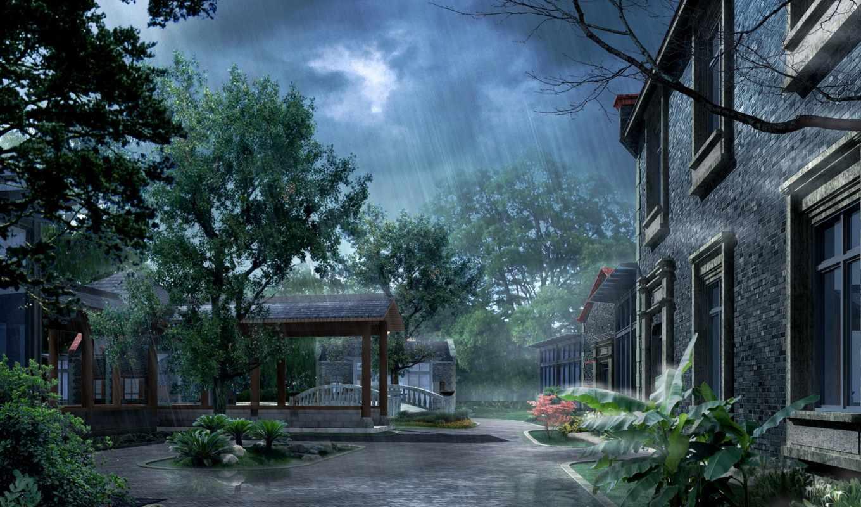 душ, заставки, природа, рисованные, дорога, tropical, особняк,