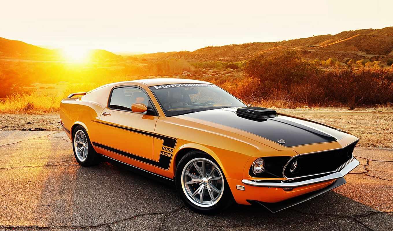 mustang, car, boss 302, оранжевый,  ford,