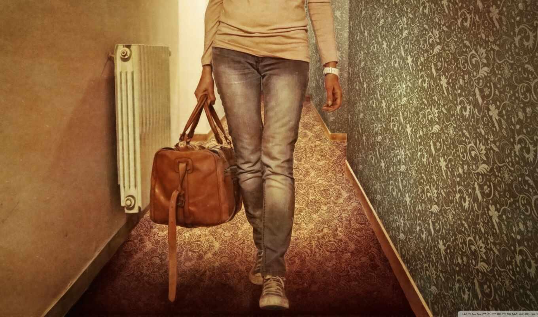 оставить, мешок, путь, leather