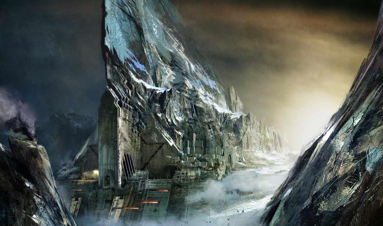 горы, daniel, dociu, город, облака, скалы, арт, птицы, wars, guild, priory,