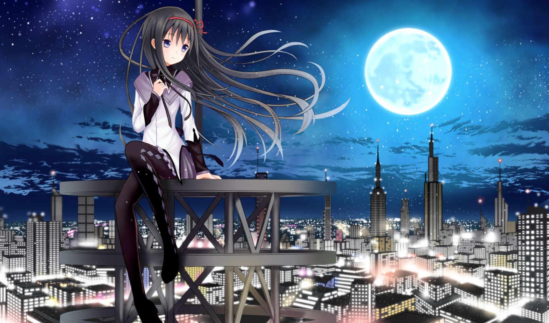 madoka, magica, mahou, shoujo, anime, moon, hair, akemi, homura, волшебница, city, long, night, девочка, cityscapes, pantyhose,