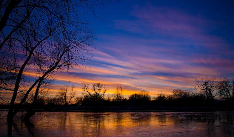 деревья, сша, вечер, иллинойс, озеро, облака, закат, небо,
