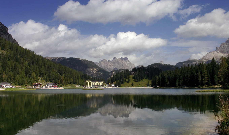 небо, озеро, природа,