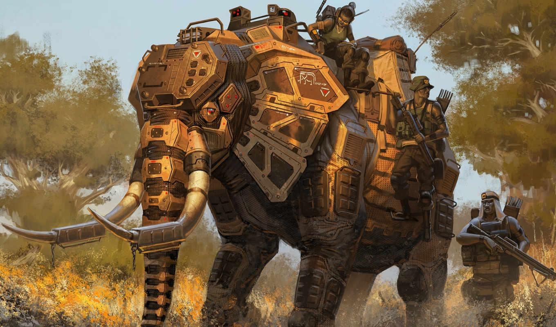 слон, солдаты, пехота, оружие,