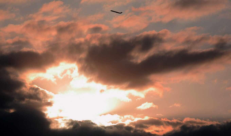 color, облако, природа, закат