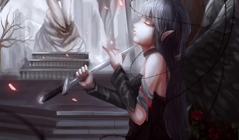 anime, кинжал, pantalla