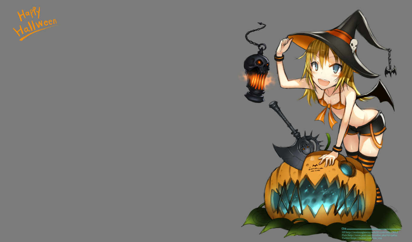 hat, hair, halloween, bikini, top, blonde, blue, eyes, weapon, witch, thighhighs, original, изображение, giá, wings, pumpkin, аниме,