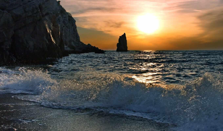 море, скалы, волны, вода, волна, брызги, всплеск, берег, солнце,