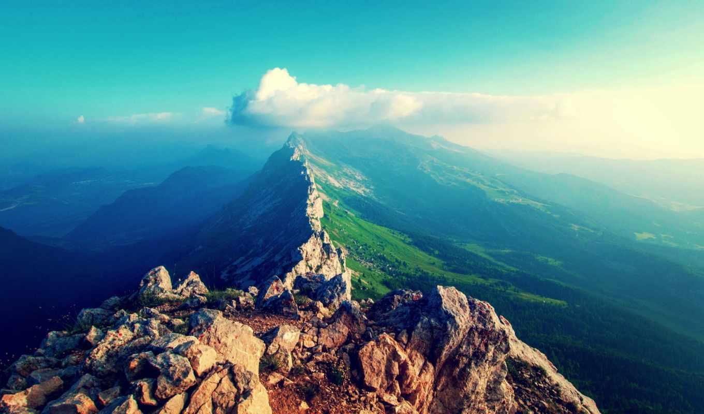 , горы, хребет, небо, облака,