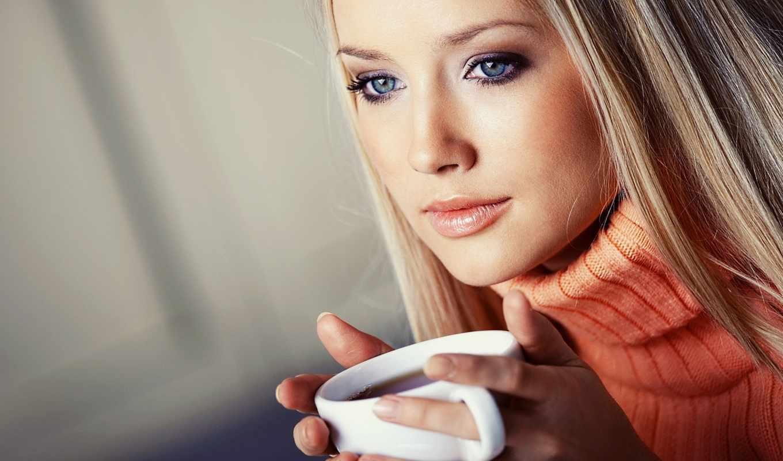 глаза, голубые, за, блондинка, кофе, девушки, нежность, глаз,