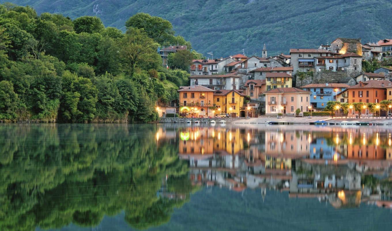 ,Италия, piedmont, Отражение, Озеро, Здания, Набережная, lake Мергоццо