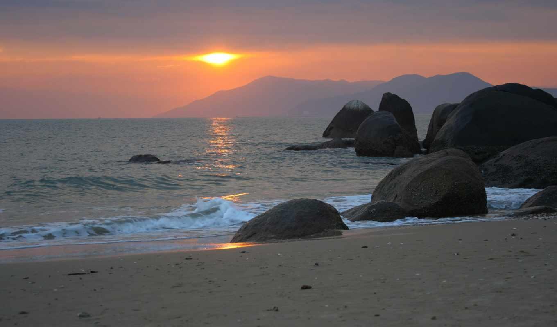 море, закат, вечер, валуны, sun, рыбаки, landscape,