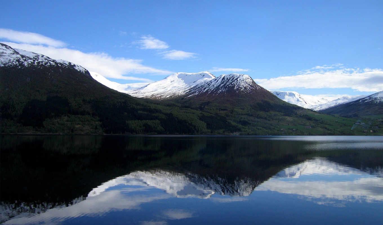 горы, вода, nature, отражение, снег, горное, озера, sky, пейзажи,