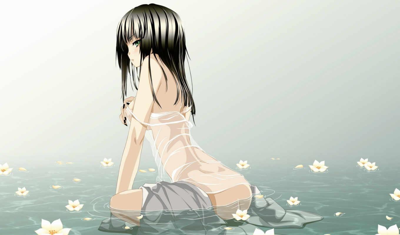 цветы, лилии, вода, девушка, flowers, anime, lilies,
