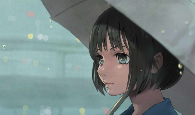 anime, девушка, взгляд, лицо, зонтик,