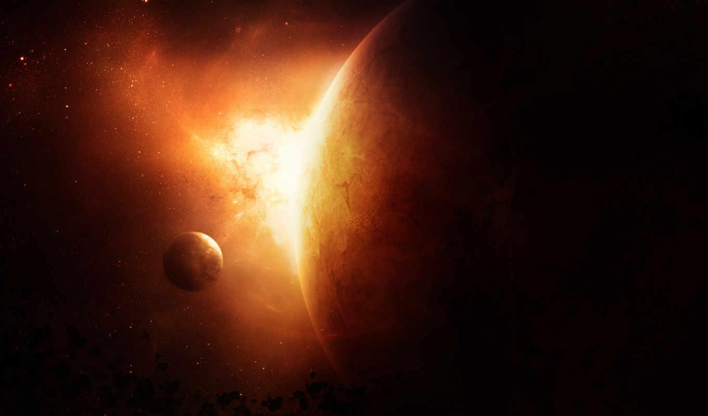планета, огонь, спутник, звезды, метеориты, space, universe,