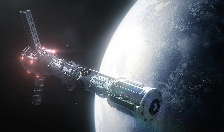 космос, корабль, арт, орбита, планета, широкоформатные,