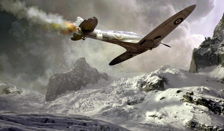самолёт, подбитый, падение, авария, спитфаер, дым, spitfire, война,