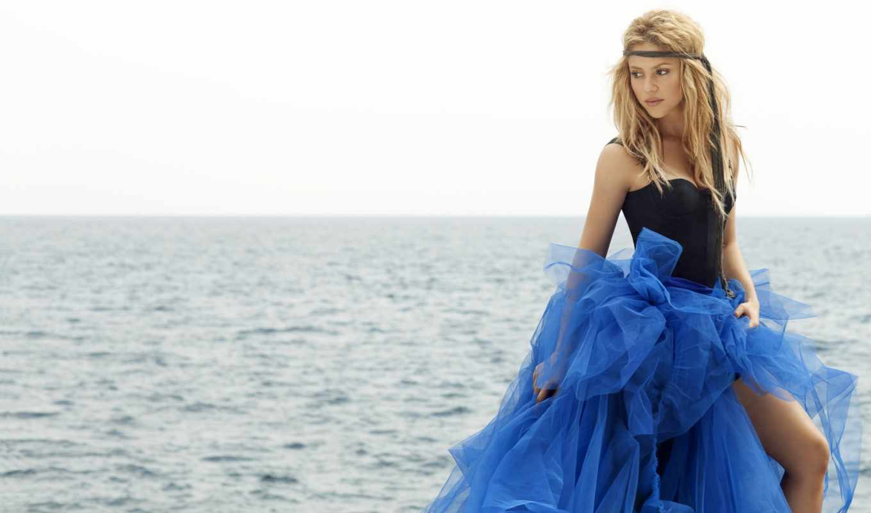 shakira, море, singer, девушка, blonde, browse, платье,