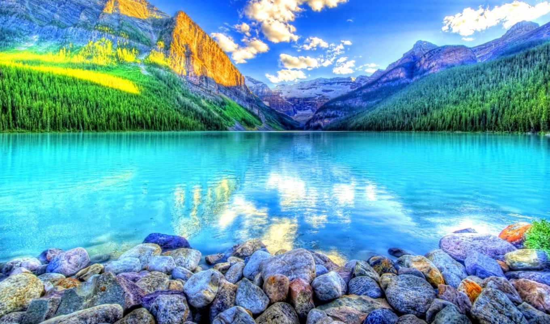 гора, озеро, desktop, high,