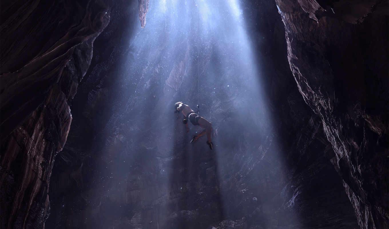 , человек, свет, водопад, темнота, пещера