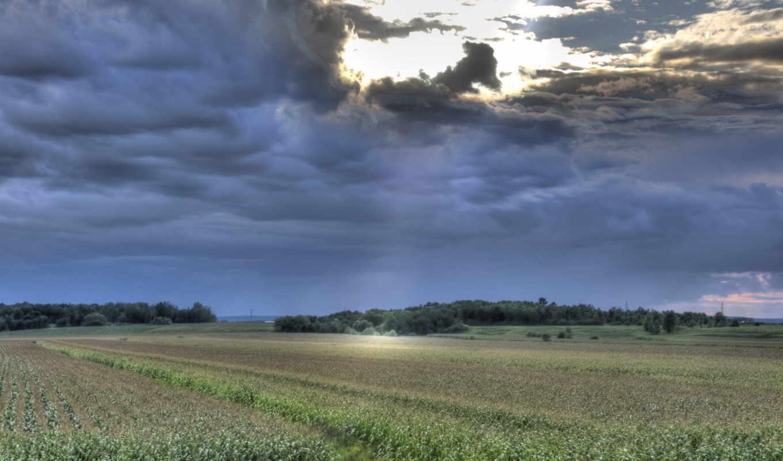 природа, небо, тучи, поле, ночь, пейзаж,