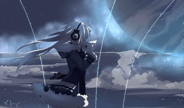 аниме, девушка, небо, звезды, similar, minus,