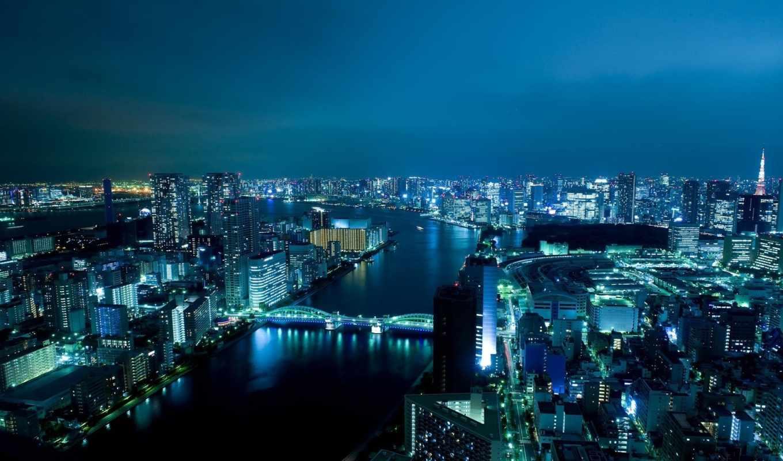 япония, токио, ночью, вода, фонари, города,