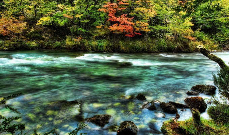 река, быстрая, скалы,