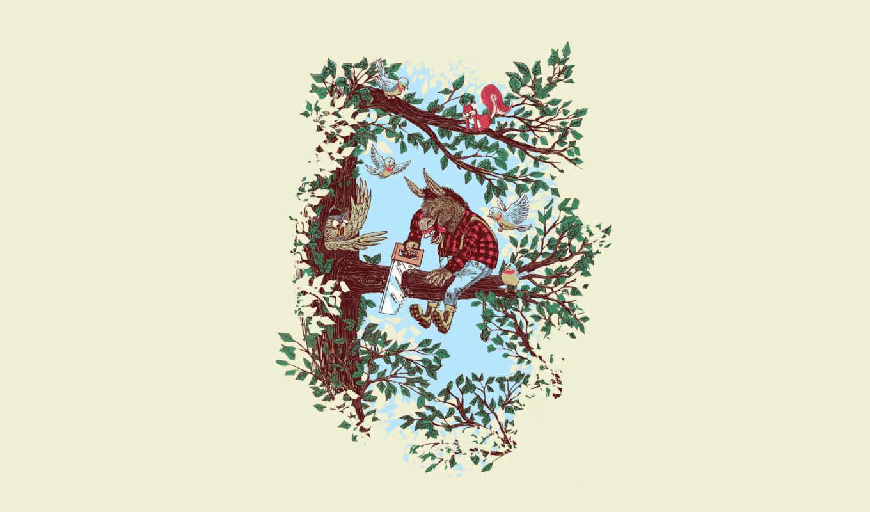 дерево, птицы, осел, сова, ветка, листья, идиот, georges, le, mercenaire,