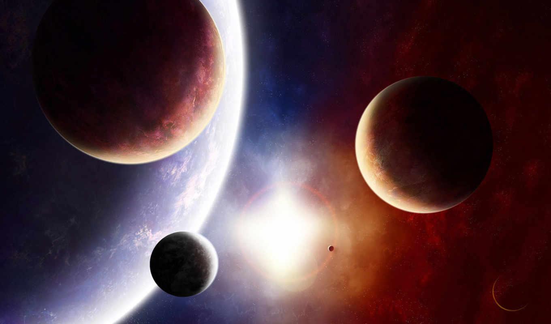 космос, солнце, планета, спутники, свет, звезда, краски, разное, art,