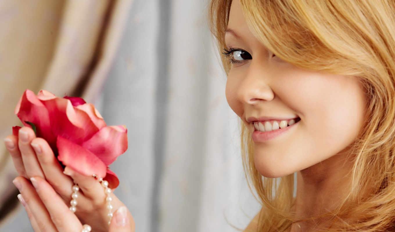 девушка, цветок, улыбка, девушки, категория,