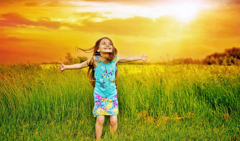 , девочка, поле, трава, радость,