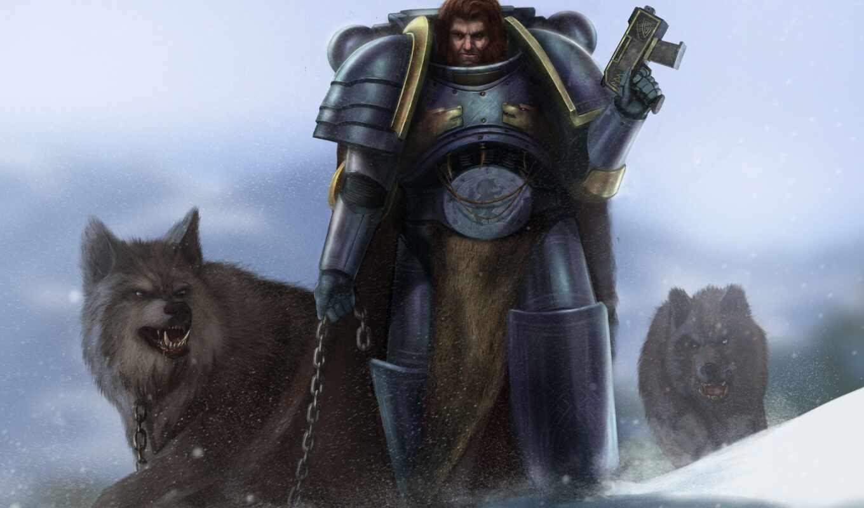 warhammer, цепь, парень, волк, снег, космос