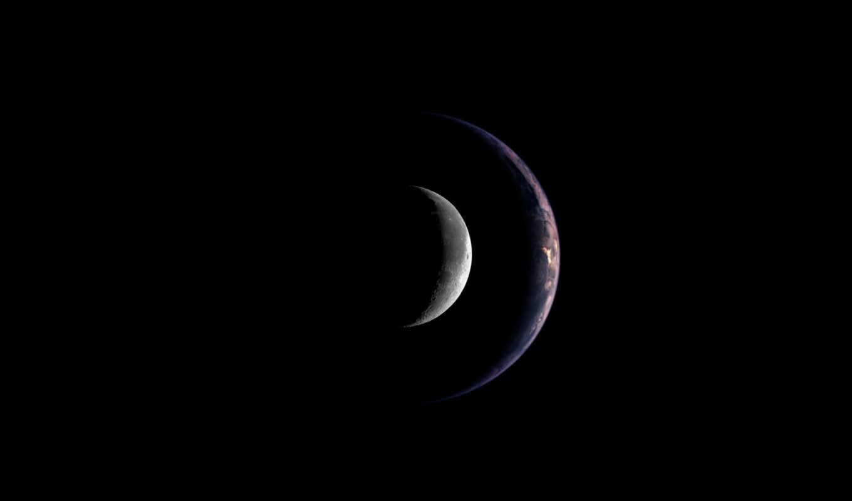 , луна, земля, космос, тень