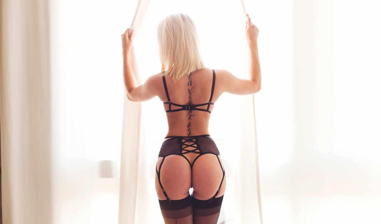 lingerie, эротический, blonde, ass,