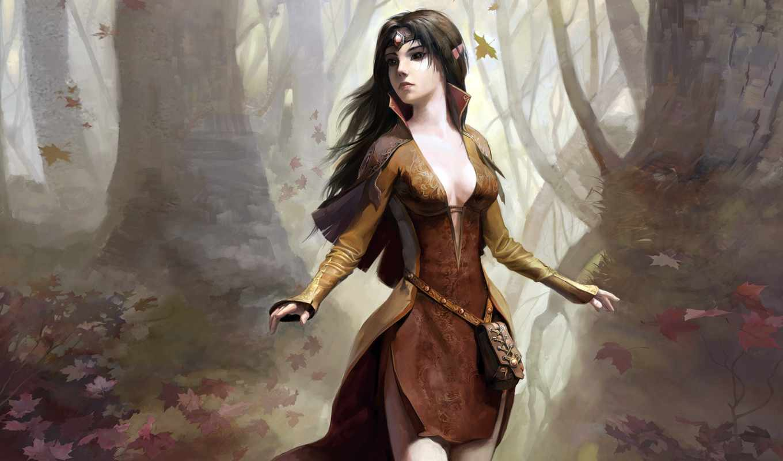эльфийка, девушка, эльфийки, волосами, длинными,