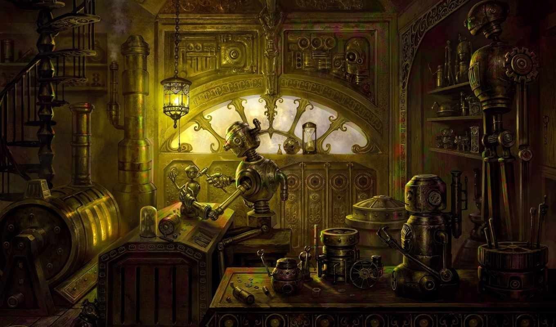 steampunk, robot, запчасти, мастерская, лампа, печь, стимпанк,