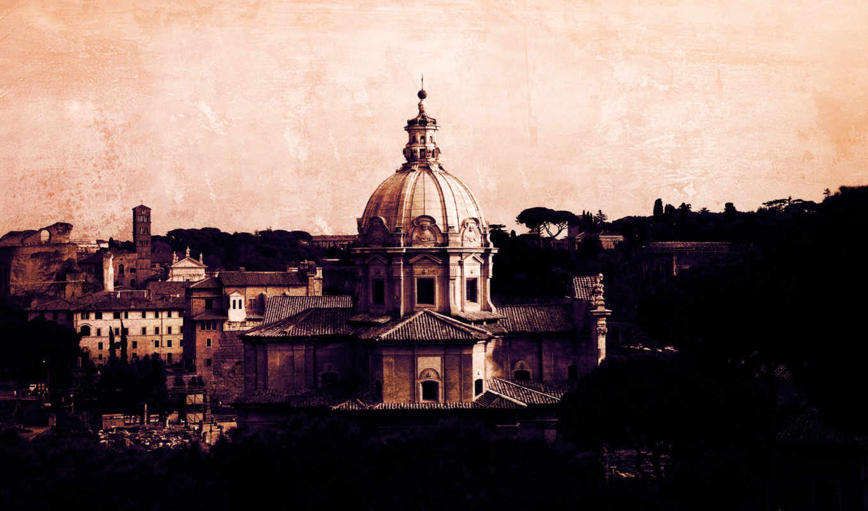 italy, рим, здания, рисунки, город,