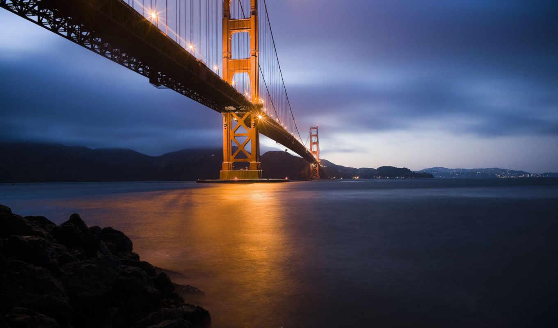 мост, золотистый, gate, san, francisco, золотые,