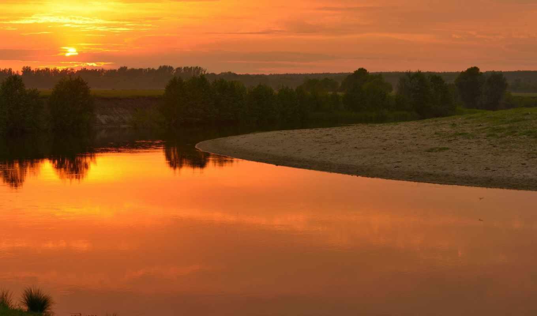 природа, kenbutsu, закат, река,