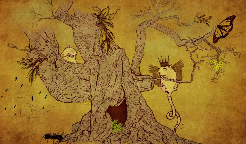 рисунок, дерево, животные, нравится, смотрите,