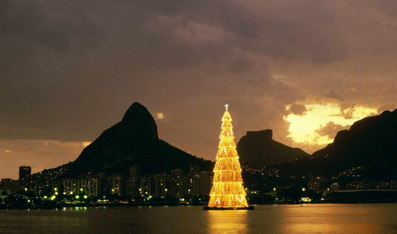christmas, rio, brazil, janeiro, воде, светящаяся, елка, desktop, новогодней, реальном, её, обоей, картинку, lagoa, чтобы, просмотреть, размере, traditions, navidad,