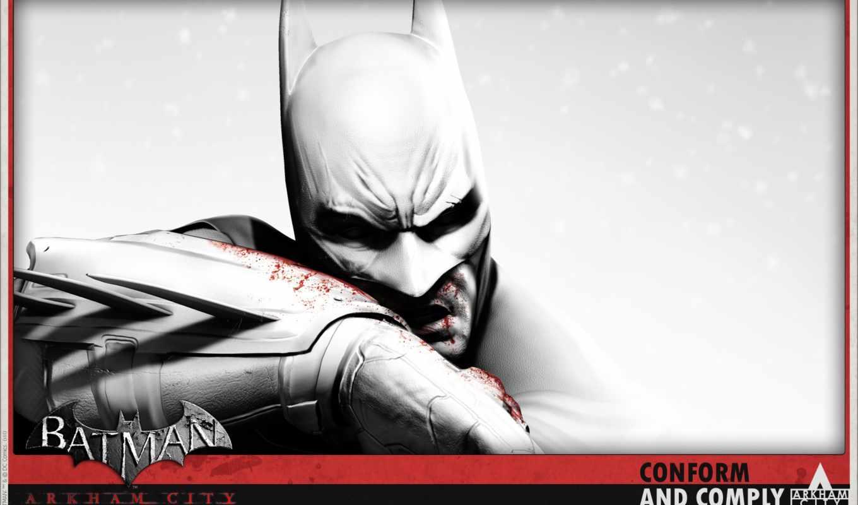 batman, arkham, city, персонаж, лицо, взгляд, бэтмен, игры, кровь, чб,