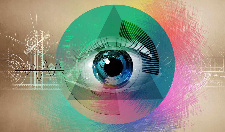 абстракция, геометрические, формы, фигуры, рисунок, глаз, дек,