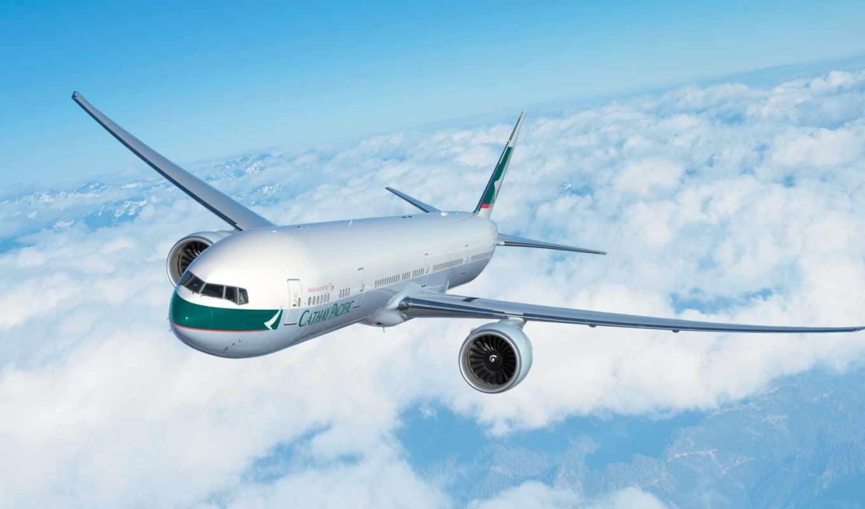 летит, самолёт, воздухе, небо, авиация, airbus, oblaka, cathay, pacific, boeing,