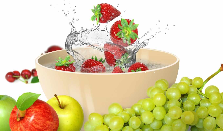 water, fruits, splash, fresh, drops, ягоды, воде, фрукты, клубника, картинка,