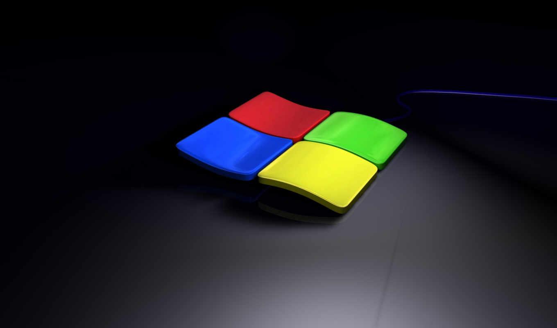 windows, лого, 3д, тёмный