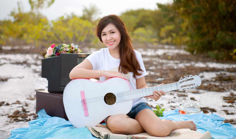 музыка, гитара, девушка, girls,