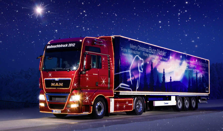 truck, christmas, man, the, грузовик, and, обои, м